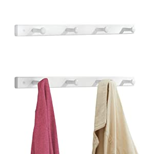 mDesign Decorative Wood Wall Mount 4 Hook Storage Organizer Rack for Coats, Hoodies, Hats, Scarves, Purses, Leashes, Bath Towels & Robes - 2 Pack - White