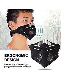 Máscara a prueba de polvo, bicicleta al aire libre Ciclismo a prueba de viento Filtro antipolvo Media máscara facial Máscara de neopreno anti contaminación para actividades al aire libre Negro