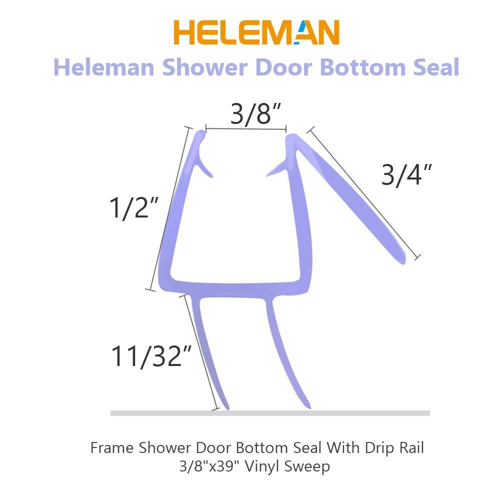 """3//8/"""" X 39/"""" 2 Pack Glass Shower Door Seal Strip Frameless Shower Door Shower Door Bottom Seal 2 Stop Shower Leaks and Create a Water Barrier"""