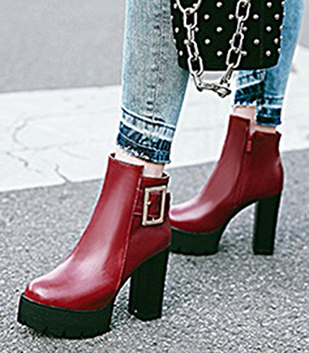 Zip Up Buckle Heel Womens Boots Platform Inside High Ankle With Zipper Block Aisun Round Dressy Strap Toe Booties Red qPwx6c5vd