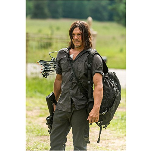 Norman Reedus 8 Inch x 10 Inch PHOTOGRAPH The Walking Dead (TV Series 2010 - ) Carrying Crossbow, Arrows & Backpack kn