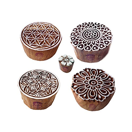 Asian Designs Round and Flower Wood Print Stamps (Set of 5)