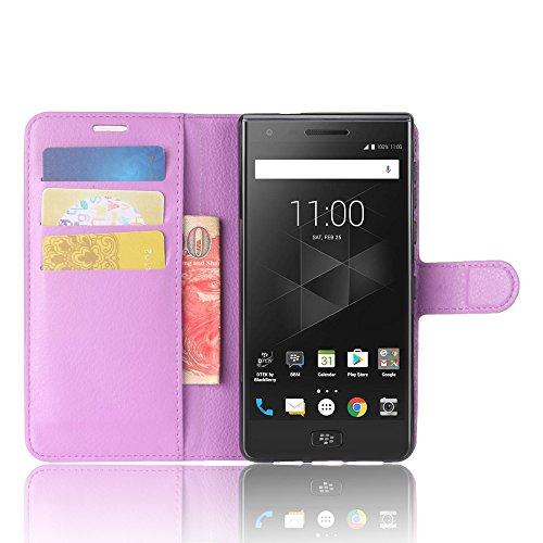 BlackBerry Motion Funda Faux Cuero Billetera Funda para BlackBerry Motion con Stand Función(Negro) Púrpura