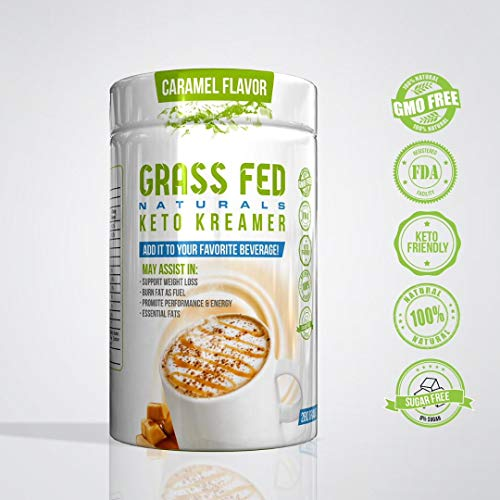 GrassFed Naturals Keto Creamer for Coffee and Tea with MCT Oil, 100% All Natural, Burn Fat as Fuel, Ketosis Supplement, Amazing Taste, Caramel Macchiato, 20 Servings