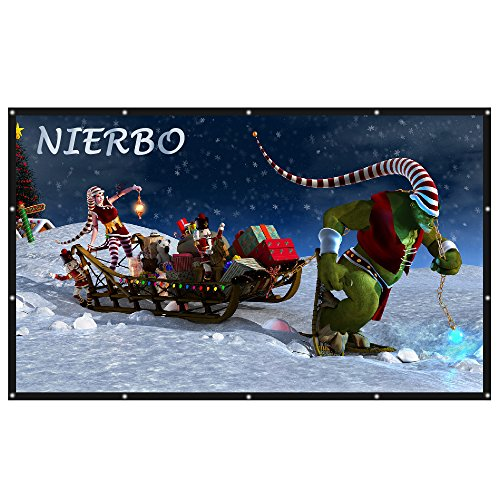 NIERBO 150 Inch Projection Screen 16 9 3D Movie Screen Portable Canvas Fabric Material Projector Screen for Outdoor Indoor with Grommets without Frame for Universal Projectors