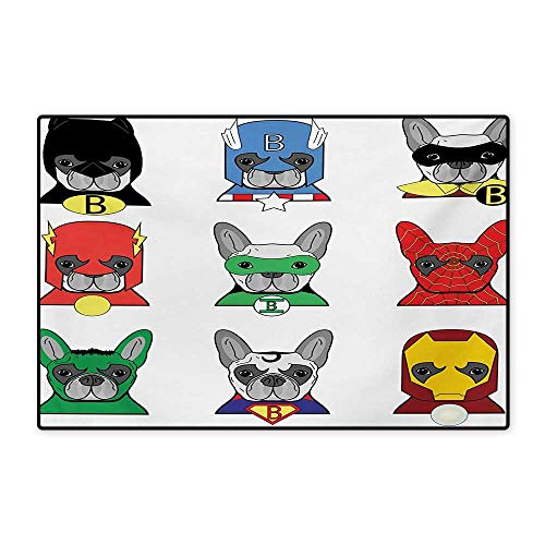 Superhero Bath Mats for Bathroom Bulldog Superheroes Fun Cartoon Puppies in Disguise Costume Dogs with Masks Print Floor mat Bath Mat 20