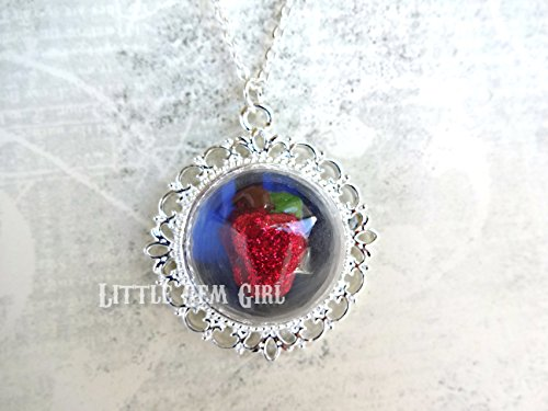 Snow White Poison Apple Necklace - Evil Queen Halloween Costume Necklace - Fairy Tale Once Upon a Time Glass Dome Jewelry ()