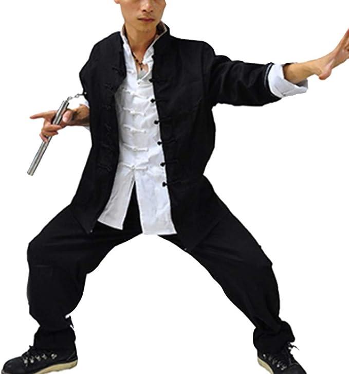 Hombre Conjunto De 3 Piezas Traje Tang Artes Marciales Kung Fu Tai Chi Chaqueta + Camisa + Pantalones: Amazon.es: Ropa y accesorios