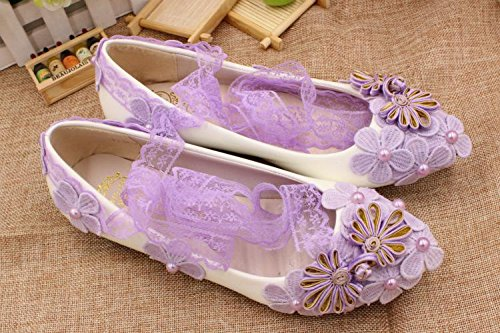 And Heel Shoes Decals Handmade Women's Anklet Wedding Customize Bride amp; Si Bridesmaid Summer Dress Purple Height Banquet Party Lace Spring White pXqTAw