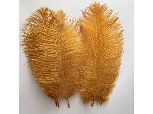 Driverder Pluma de Avestruz para Decoración del hogar, Manualidades, Color Dorado, 25,4-30,5 cm