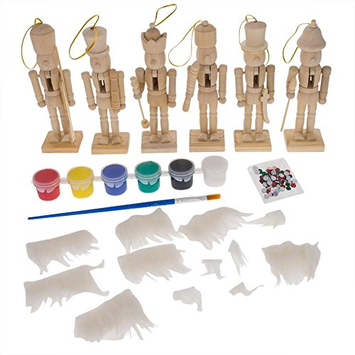 6 Unfinished Wooden Nutcracker Figurines Craft Kit