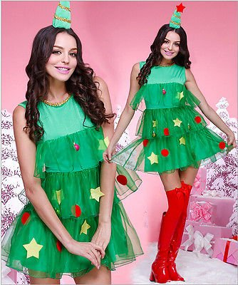 [Horny Time - Cute Adult Women GREEN CHRISTMAS TREE DRESS XMAS Santa Claus COSTUME FANCY DRESS] (Car Wash Costume Ideas)