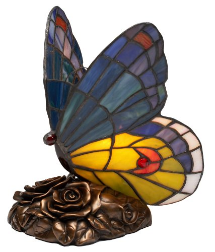 - Quoizel Blue Butterfly Tiffany 1 Light Accent Lamp