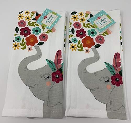 Ritz Floral Springtime Elephant Kitchen Dish Towel 2 Pk. Set (Dishes Elephant)