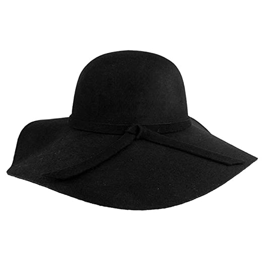 08f68a7f FUNOC Fashion Vintage Women Ladies Floppy Wide Brim Felt Fedora Cloche Hat  Cap Black