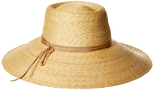 Gottex Women's Capri Fine Milan Sun Hat with Ribbon Trim, Rated UPF 50+ for Max Sun Protection, Natural/Buff, Adjustable Head Size by Gottex