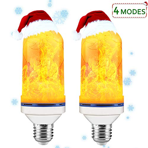 OLIISS LED Flame Effect Light Bulbs, E26 4 Mode LED Flame Bulbs with Upside Down Effect, Best Decorative Fire Lamps for Thanksgiving/Christmas/Party(2 Pack)