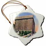 3dRose Dupont Hotel and Rodney Square, Wilmington, Delaware Snowflake Ornament, 3''