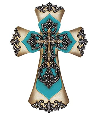 Old River Decorative Layered Teal Tuscan Wall Cross Scrolly Fleur De Lis