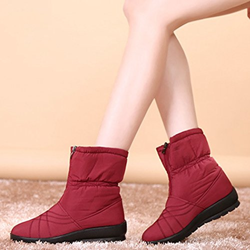 Waterproof Slipper Fur Winter GIY Mid Bootie Red Snow Platform Women Lining Boots Shoes Warm Calf Fashion wqOCEOU