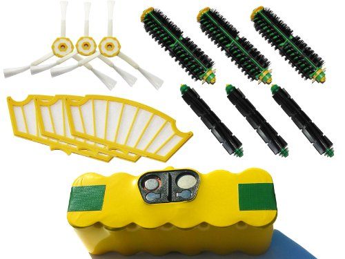 Replacement iRobot Roomba 500 Series Battery, Filter, Bristle Brush, Flexible Beater Brush and 3-Arm Side Brush - Kit Includes 1 High Capacity Battery, 3 Filter, 3 Bristle Brush, 3 Flexible Beater Brush and 3 3-Arm Side Brush - Roomba 572