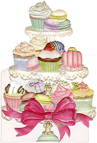 Pictura Assorted Confections on Tiered Tray Sienna Garden Die Cut Feminine Birthday Card for Her/Woman