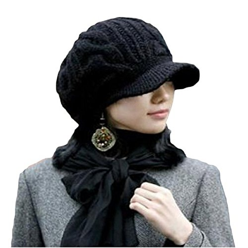 Losuya Fashion Women Hats Slouchy Cabled Pattern Knit Beanie Crochet Rib Hat (New Black) (New Crochet Beret)