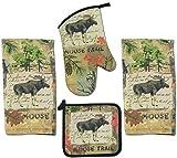 4 Piece Wilderness Moose Trail Kitchen Set - 2 Terry Towels, Oven Mitt, Potholder