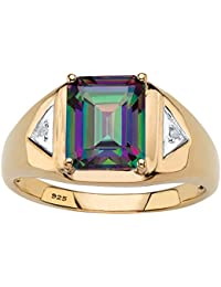 18K Yellow Gold over Sterling Silver Emerald Cut Genuine Mystic Fire Topaz and Diamond Accent Ring