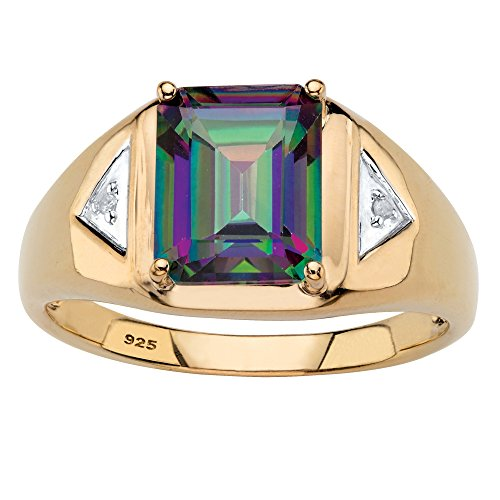 18K Yellow Gold over Sterling Silver Emerald Cut Genuine Mystic Fire Topaz and Diamond Accent Ring Size (Mystic Fire Topaz Emerald)