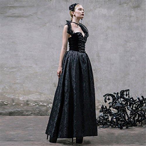 Devil Fashion Gonna lunga senza maniche in pizzo Steampunk gotico vestito sottile V-Neck gonna nera delle donne,7 formati