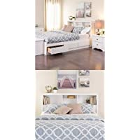 Prepac Monterey Queen Bed and Headboard - White