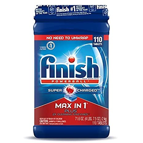 Finish Max in 1 Plus Dishwasher Detergent 110-Count Easy to use Wrapper Free Powerball Tabs in Convenient Mess Free 4 Lb Snap Top Plastic Tub Fresh Scent Reckitt Benckiser Inc.