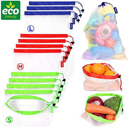 Reusable Mesh Produce Bags eco Friendly Zero Waste Recyclable Net Shopping Bags for Refrigerator Vegetable Toys Storage with Drawstring Tare Weight Tags Washable Large Medium Small Bulk Set of ()