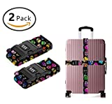 YEAHSPACE Luggage Strap Dead Sugar Skull 2PC Set Suitcase Betlt Travel Belts With 3-dial TSA Combination Lock
