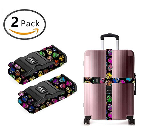 YEAHSPACE Luggage Strap Dead Sugar Skull 2PC Set Suitcase Betlt Travel Belts With 3-dial TSA Combination Lock by YEAHSPACE