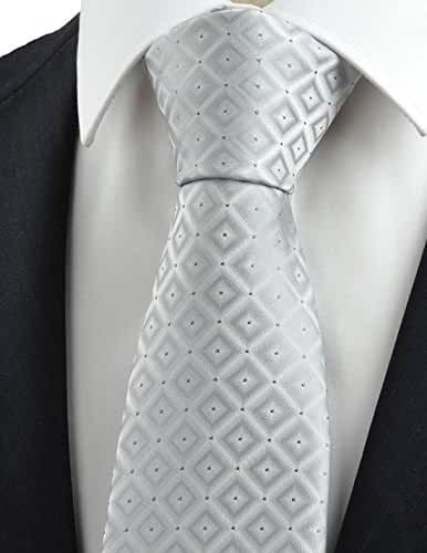 KissTies Mens Diamond Checked Tie Suit Necktie + Gift Box