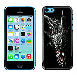 MldieromSmartphone Protective Case Hard Shell Cover for Cellphone Apple Iphone 5C / CECELL Phone case / / Dragon Teeth Scary Black Horn /