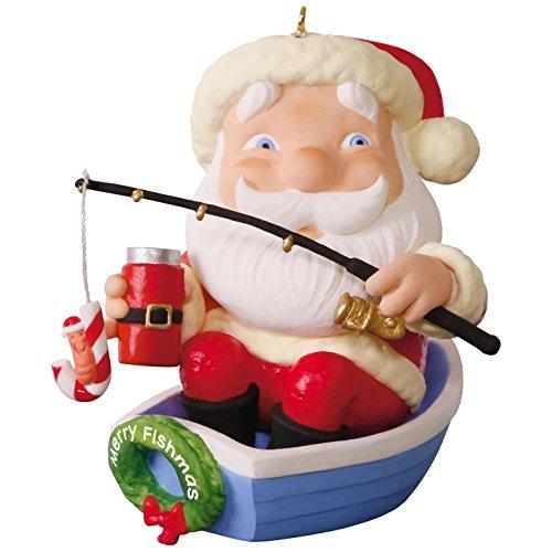 17 Merry Fishmas Santa Fishing Christmas Ornament ()