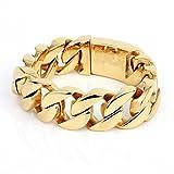 COPAUL Jewelry Men's Stainless Steel Gold Color Bracelet