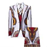 Zimaes-Men Africa Set 3-Piece Dashiki Blazer Pants Classic Business Suit 17 3XL