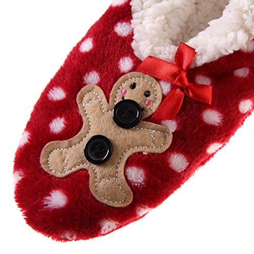 Dosoni Women Girl Super Soft 3D Santa Design Novelty Christmas Gift Fuzzy Winter Slippers Bow Bear Dot Red VyEuw3V