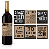 6 30th Birthday Wine or Beer Bottle Labels Stickers Present, Dirty Thirsty Thirty Bday Gifts For Him Men, Cheers to 30 Years, Funny Unique Party Decorations and Novelty Supplies For Man Husband
