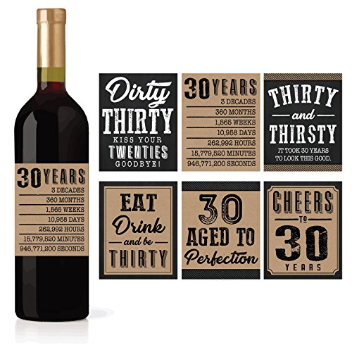 6 30th Birthday Wine or Beer Bottle Labels Stickers Present, 1989 Dirty Thirsty Thirty Bday Gifts For Him Men, Cheers to 30 Years, Funny Unique Party Decorations and Novelty Supplies For Man Husband (Dirty Thirty Birthday Party Ideas For A Guy)