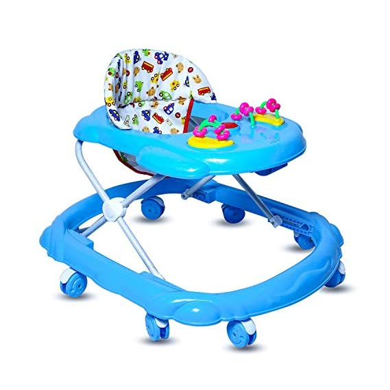 GoodLuck Baybee Baby Lunaa Round Walker for Kids with 3 Position Height Adjustable Kids Walker with Fun Toys & Activities for Babies- Blue (6 Month to 2 Years)-