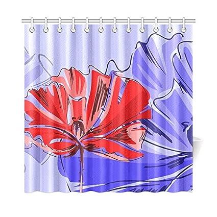 NQEONR Home Decor Bath Curtain Poppy Purple Red Flower Blossom Polyester Fabric Waterproof