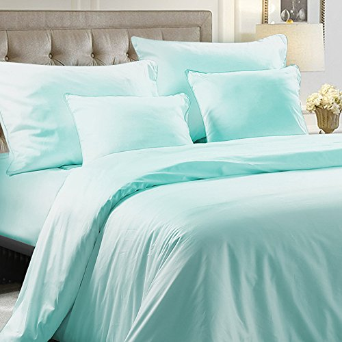 Hotel Luxury 5 Pieces Bedding Set 100% Egyptian Cotton Sateen Hotel Luxury 400 Thread Count with 1 Duvet Cover, 2 Pillow Cases, 2 Throw Pillow Case Cushion Covers, Twin, Cyan by NTBAY (Cushion Cover Cotton Quilt)