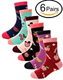 Boys Girls Wool Socks For Child Kid Toddler Thermal Warm Thick Cotton Winter Crew Fun Socks 6 Pairs (Fruits, 8-12 Y)