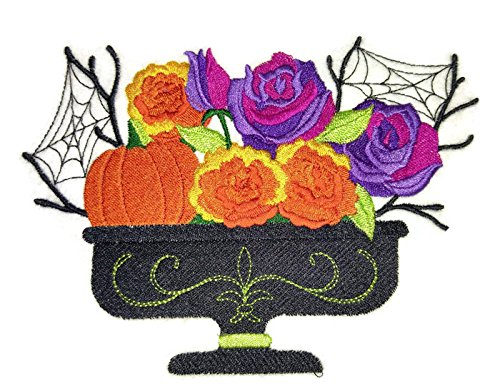 Custom And Unique Happy Halloween [ October Blooming Basket ] Embroidered Iron on/Sew patch [6.75