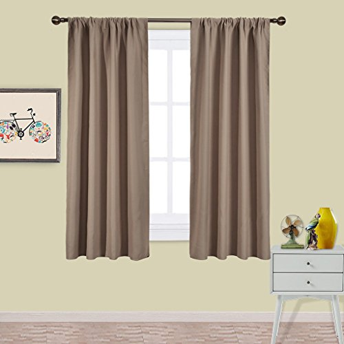 Nicetown Kitchen Blackout Drapery Panels - Window Treatment Thermal Insulated Solid Blackout Curtains / Drapes for Bedroom (Set of 2 Panels,42 by 63 Inch,Taupe-Khaki)